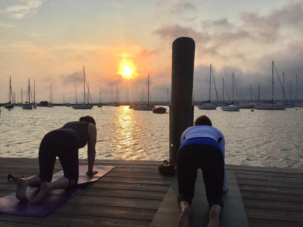 Martha's Vineyard Yoga On The Dock Sherry Sidoti Class Vineyard Haven Harbor