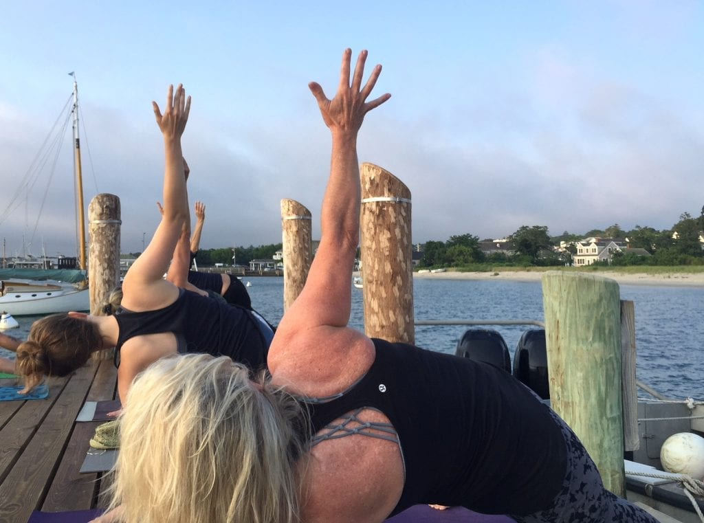 Yoga Teacher Sherry Sidoti Yoga On The Dock Martha's Vineyard