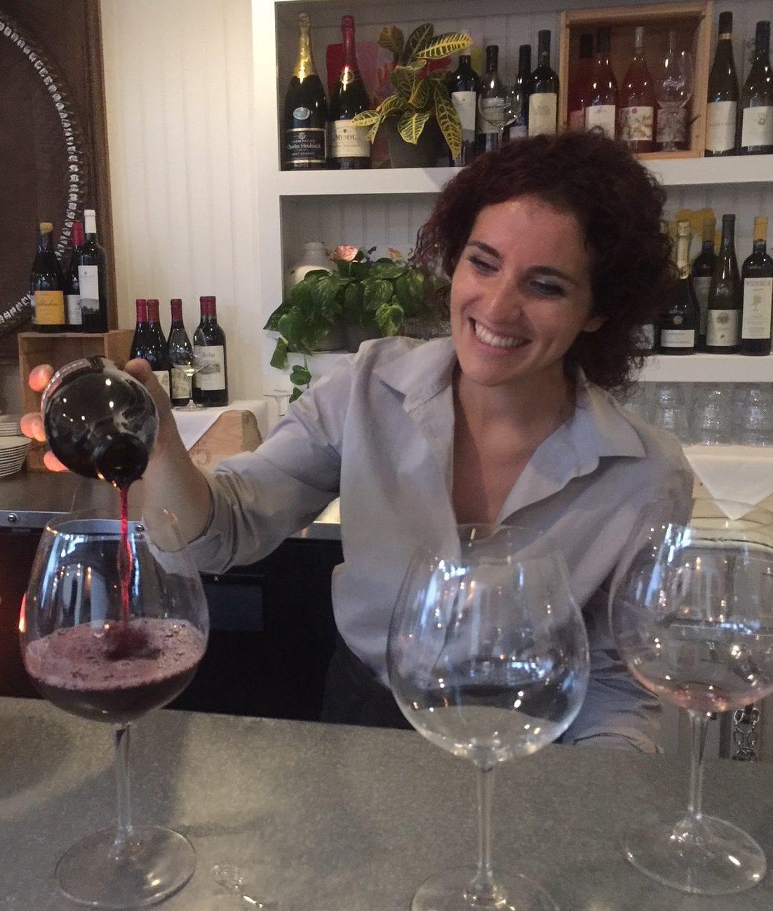 Martha's Vineyard Outdoor Dining Atria Restaurant Pizza Bar Sommelier Bartender Cami Pours Pinot Noir