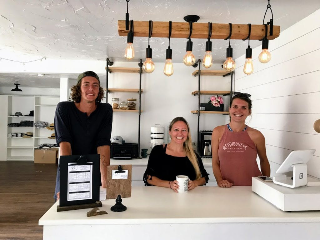 The Revelry owner,Joana Cleckner, and her crew, Taylor and Savannah Edgartown Martha's Vineyard Live Paddle Boards
