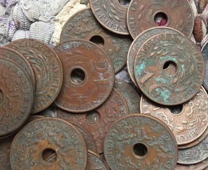 Vintage Dutch Copper Coins In Nisa Mars Pomhawk Knit Hats