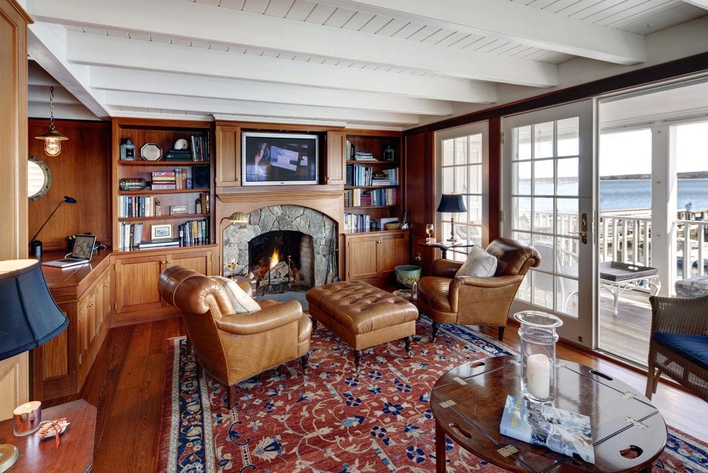 The Ferry House Study Has Work Area, Fireplace And French Doors That Open To A Wraparound Covered Porch 4 Morse Street Edgartown MA 02539 Martha's Vineyard Luxury Compound For Sale With Edgartown Harbor Water Views