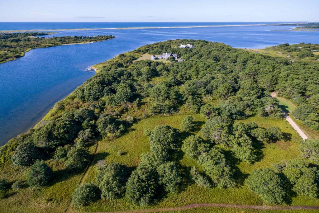 Edgartown Great Pond Waterfront Home Surrounded By Sheriff's Meadow Conservation Land Provides Privacy Buffer