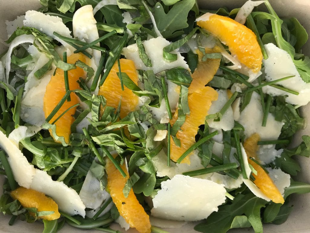 Arugula Salad with Parmesan, shaved fennel, orange and lemon vinaigrette Bettini Restaurant Harbor View Hotel