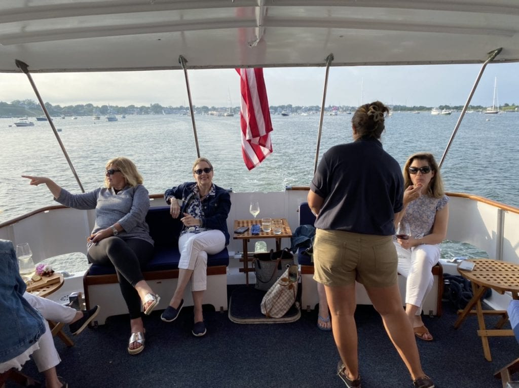Outdoor Lounge Seating Area Aboard The Alewife Yacht on Martha's Vineyard We Love MV