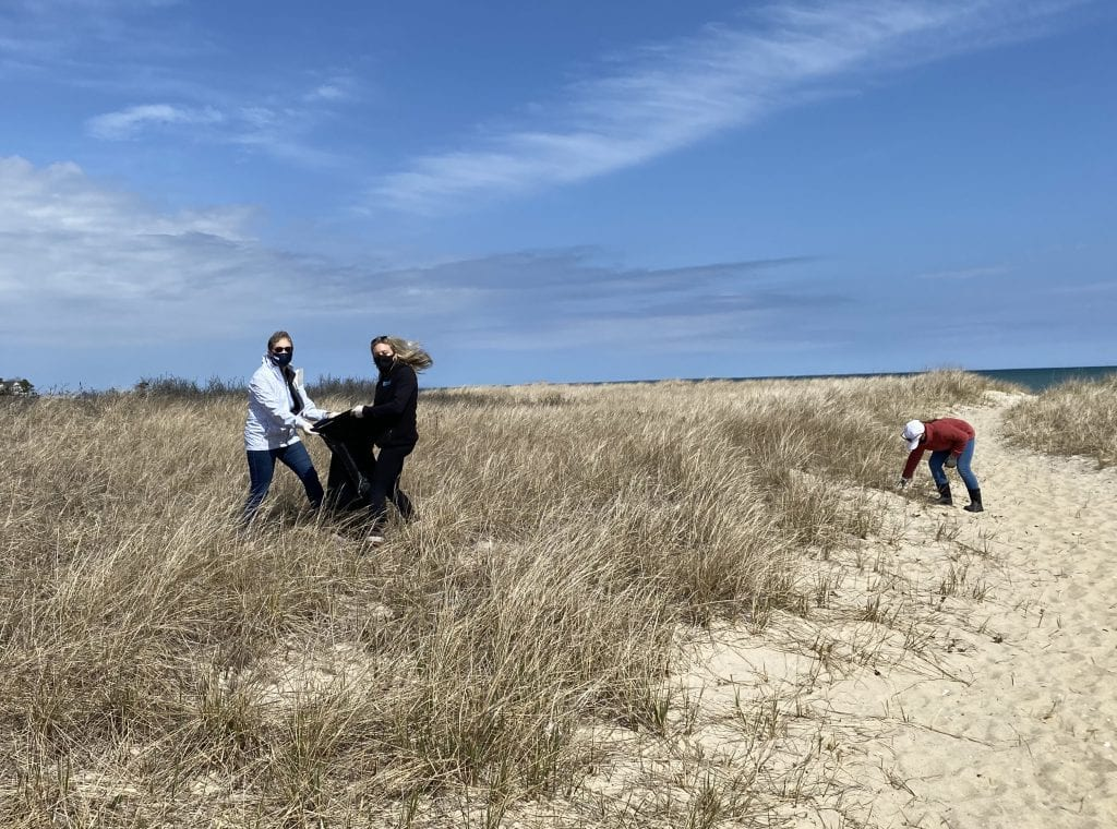 Earth Day Cleanup Edgartown Lighthouse Beach Katie Nisbet, Lisa Spomer & Charly Cramer Cleaning In The Dunes