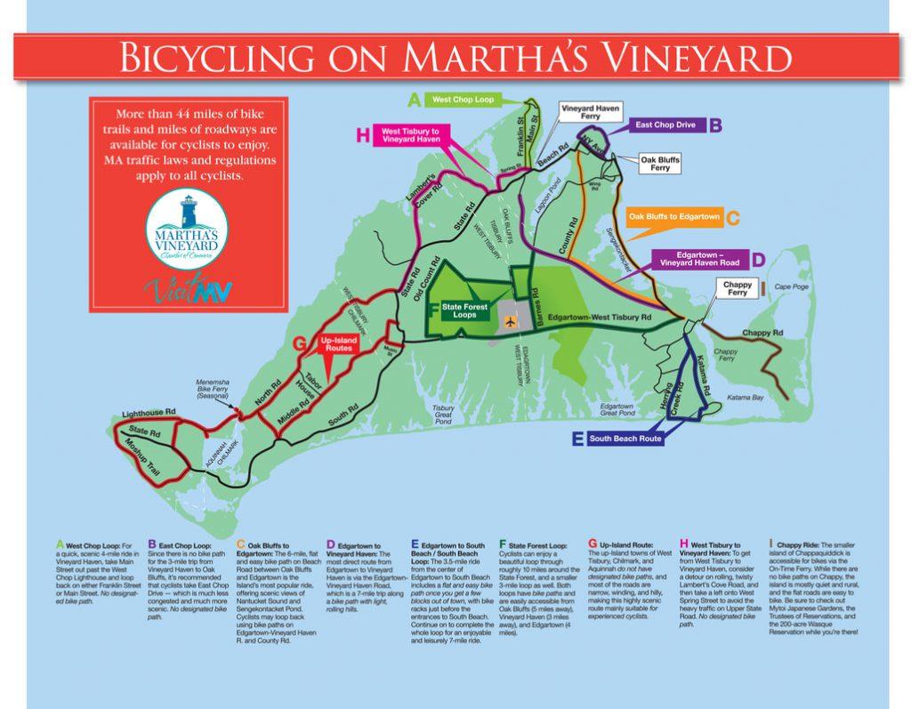 Martha's Vineyard Bucket List: Biking The Vineyard Bicycling Map Of Martha's Vineyard